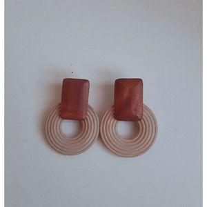 Ethnic Wooden Drop Earring